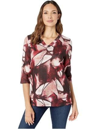 WOMEN FDJ French Dressing Jeans - Abstract Print V-Neck 3/4 Sleeve Top