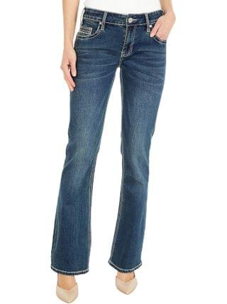 WOMEN Rock and Roll Cowgirl - Rival Low Rise with Geometric Pocket in Dark Vintage W6-6124