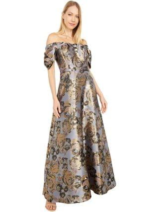 WOMEN Adrianna Papell - Petite Floral Jacquard Off Shoulder Puff Sleeve Gown