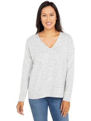 WOMEN Lucky Brand - Stripe Cloud Jersey V-Neck Top