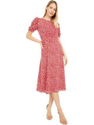 WOMEN Vince Camuto - Printed Chiffon Midi with Smocking and Novelty Sleeve