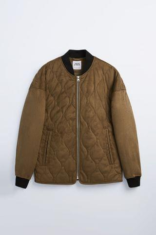 MEN FAUX SUEDE QUILTED BOMBER JACKET