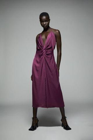 WOMEN SATIN EFFECT KNOTTED SLIP DRESS