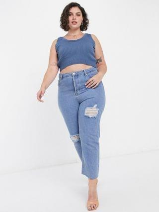 WOMEN In The Style Plus x Shaughna ribbed crop top in blue