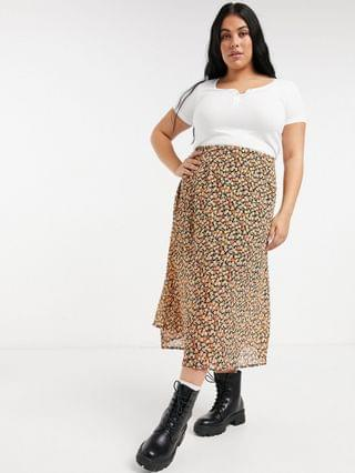 WOMEN Wednesday's Girl Curve midi skirt in ditsy floral