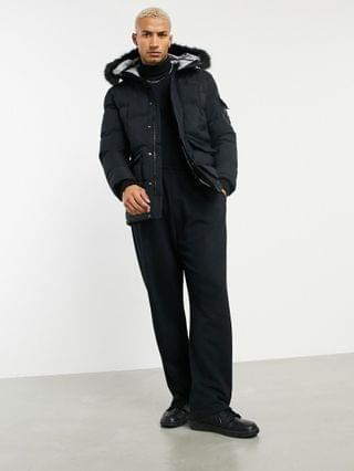 Mauvais parka coat with check print lining in black