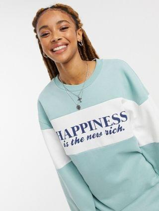 WOMEN Miss Selfridge 'Happiness is the new rich' t-shirt in sage