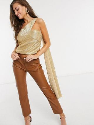 WOMEN Yaura metallic one-shoulder top with cape detail in gold