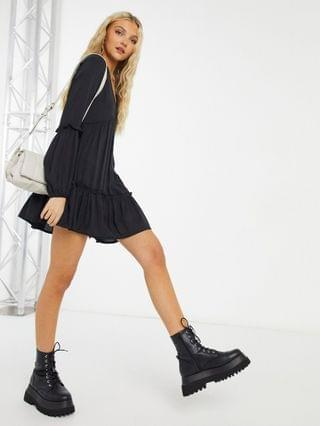 WOMEN In The Style x Jac Jossa textured smock dress in black