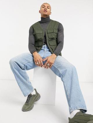 Only & Sons utility vest with pockets in khaki