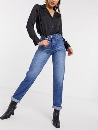 WOMEN New Look Tall waist enhancing mom jean in mid blue