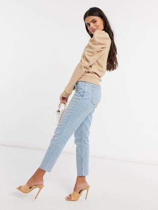WOMEN Vero Moda Petite sweatshirt top with puff sleeves in beige