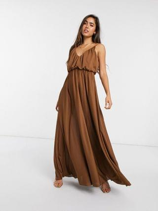 WOMEN cami plunge maxi dress with blouson top in chocolate