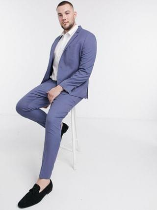 Plus wedding super skinny suit jacket with micro texture in mid blue