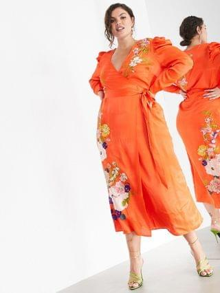 WOMEN EDITION Curve floral embroidered wrap midi dress