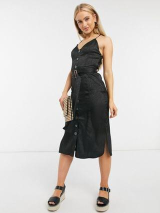 WOMEN Moon river button down belted midi dress in black