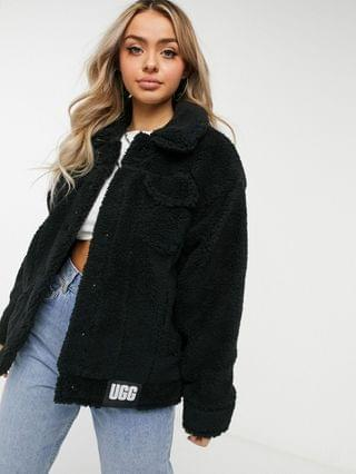 WOMEN UGG Frankie shearling trucker jacket in black