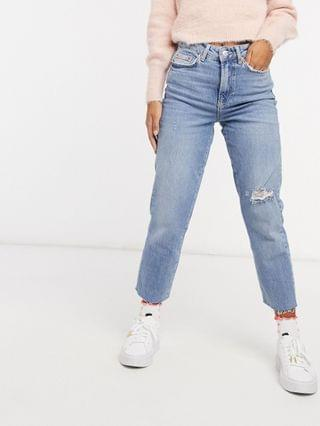 WOMEN New Look Petite ripped straight leg jeans in light blue