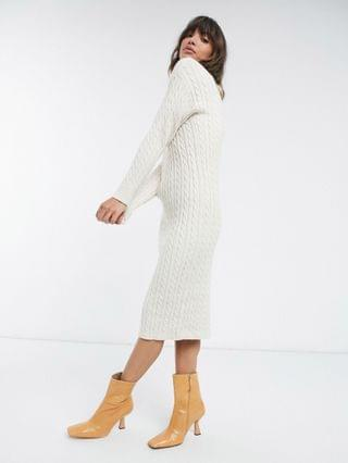 WOMEN Fashion Union midi sweater dress with high neck in cable knit