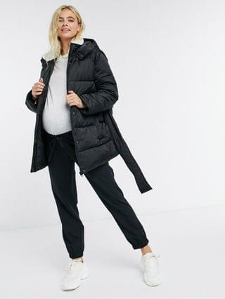 WOMEN Maternity sateen belted puffer jacket with sherpa collar in black