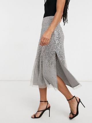 WOMEN French Connection sequin midi skirt in gray