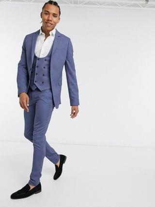 MEN Tall wedding super skinny suit jacket with micro texture in mid blue