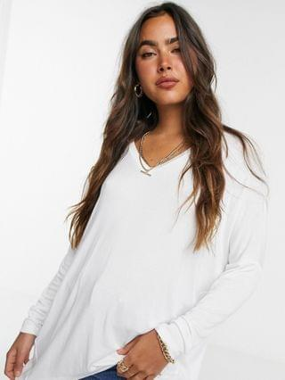 WOMEN oversized v-neck batwing sleeve top in drapey rib in white