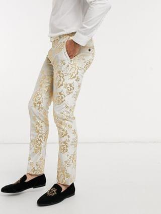 Twisted Tailor suit pants with gold floral flock in champagne