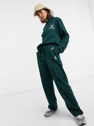 WOMEN Hourglass tracksuit oversized hoodie / oversized sweatpants set with take care embroidery in dark green