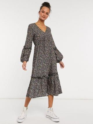 WOMEN In The Style x Jac Jossa midi smock dress in floral print