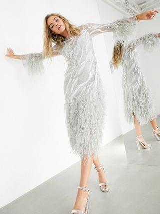 WOMEN EDITION abstract beaded midi dress with faux feathers