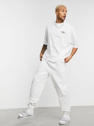 MEN Friends oversized t-shirt with 'Central Perk' embroidery in white
