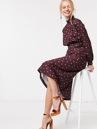 WOMEN Closet London high neck belted midi dress in burgundy with blush dot print