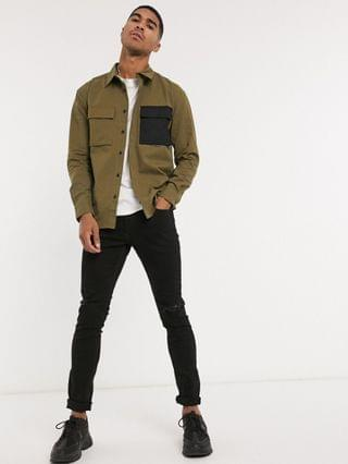 Religion military double pocket shirt in beige