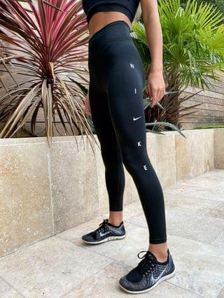 WOMEN Nike Training one tight leggings with graphic logo in black