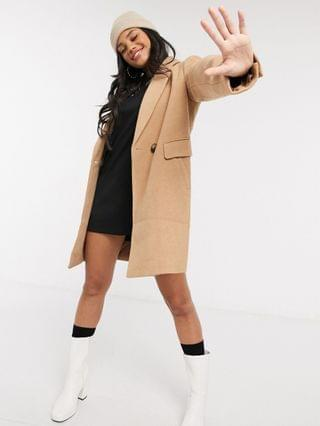 WOMEN Stradivarius double breasted tailored coat in camel
