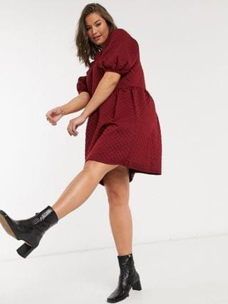 WOMEN Vero Moda Curve quilted smock dress with puff sleeves in burgundy