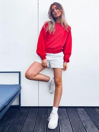 WOMEN mix & match oversized sweatshirt with chunky rib co-ord in red