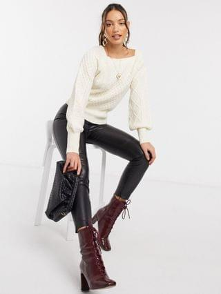 WOMEN Fashion Union Tall square neck sweater with balloon sleeves in cable knit
