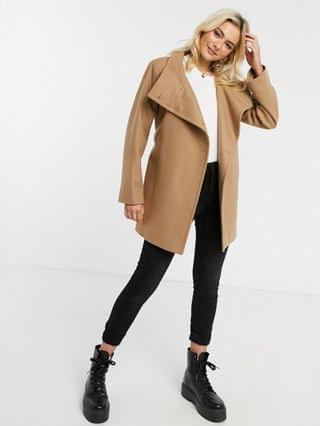 WOMEN French Connection funnel-neck wool belted coat in Camel