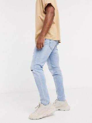 MEN Pull&Bear carrot fit jeans with rips in light blue