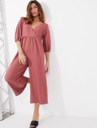 WOMEN textured wrap smock jumpsuit in winter rose
