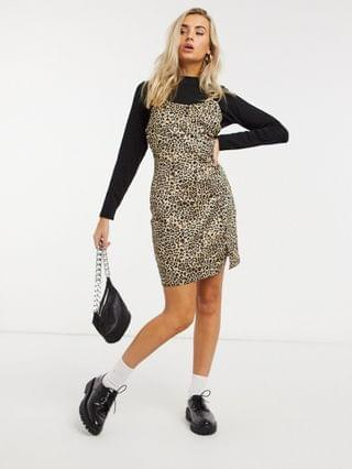 WOMEN Wednesday's Girl cami mini dress with long sleeve T-shirt layer in leopard