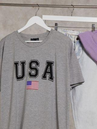 WOMEN Curve t-shirt with USA in gray marl
