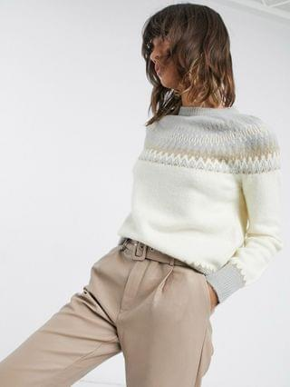 WOMEN Fashion Union relaxed sweater with placement fair isle