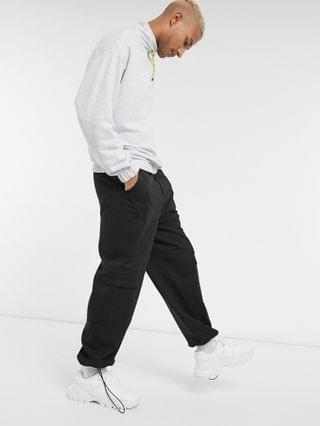 MEN oversized sweatshirt with funnel neck in white marl with contrast drawcords