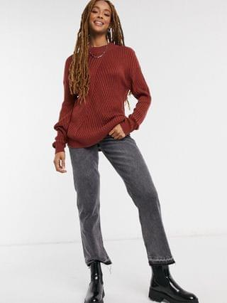 WOMEN JDY oversized ribbed sweater with high neck in brown