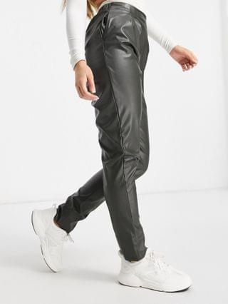 WOMEN jersey leather-look tapered trousers in forest green
