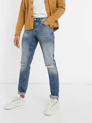 Tall slim jeans in vintage mid wash blue with knee rips