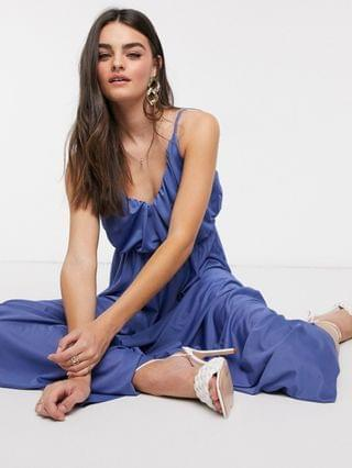 WOMEN cami plunge maxi dress with blouson top in slate blue